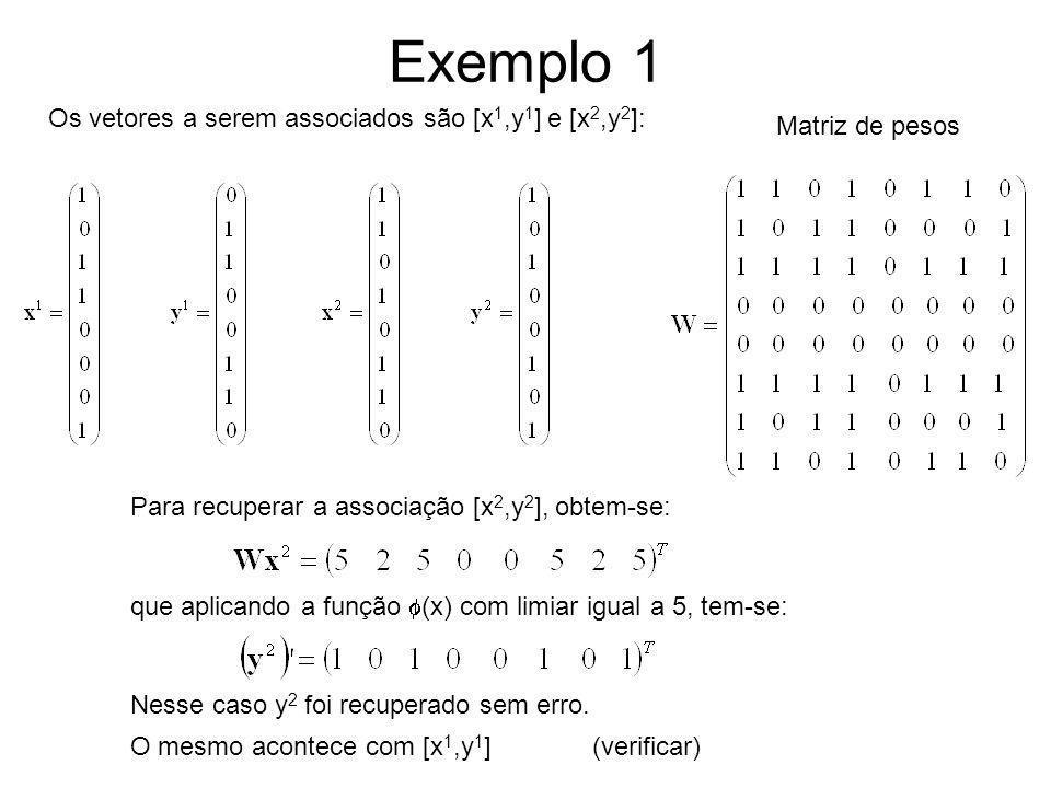 Exemplo 1 Os vetores a serem associados são [x1,y1] e [x2,y2]: